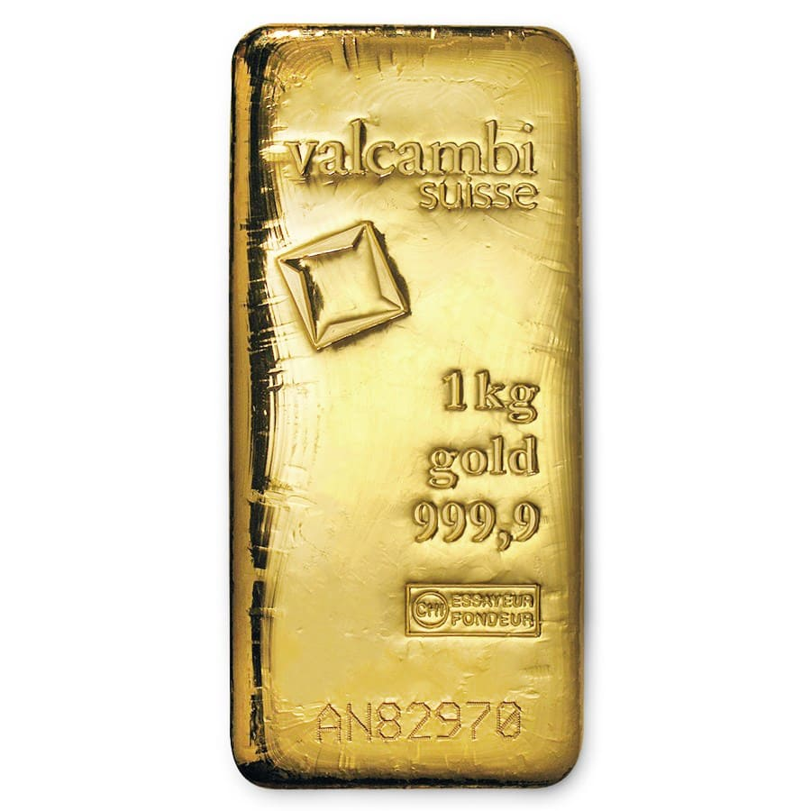 1000 gram Gold Bar - Valcambi (Poured w/Assay)